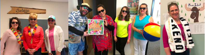 Fun in the sun day! Staff dressed up for the day, too!  Dixie Bonnevie, Kelly Brooks, Laurie Roddy, Adam Scarpone, Jorgeanne Barley, Kristen Levesque, Phyllis Cote, and Anna Satterfield