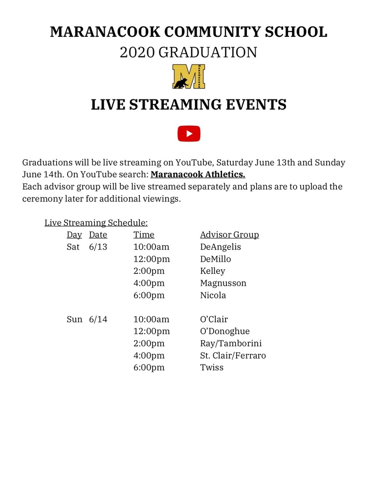 Graduation Live Streaming Schedule