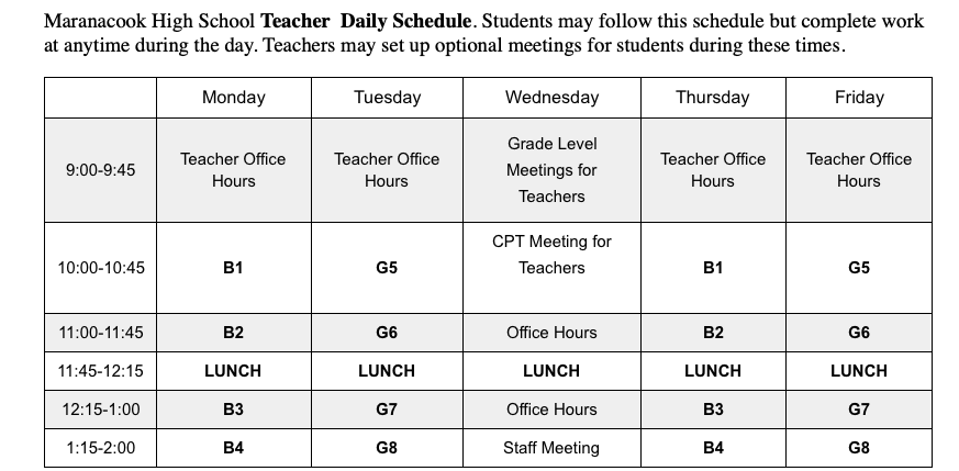 Remote Learning Teacher Schedule