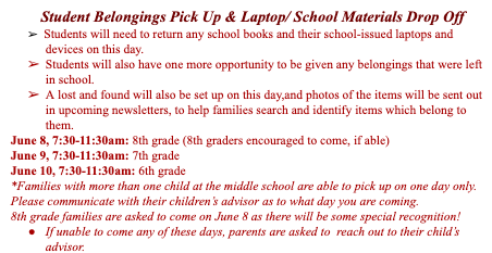 MCMS End of Year Pick Up and Laptop Drop Off