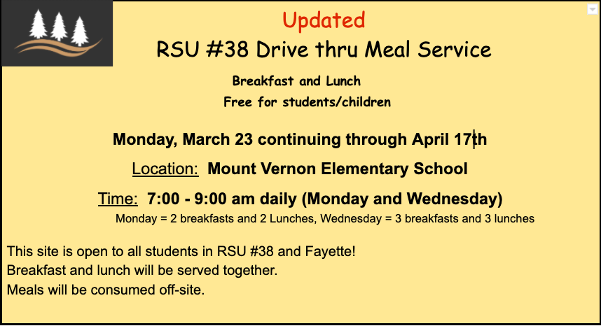 Updates to Meal Service