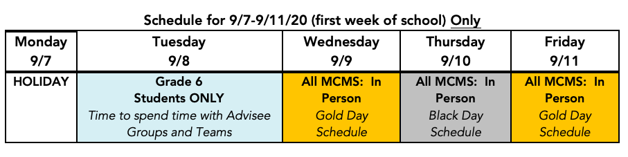 First Week of School Schedule for MCMS