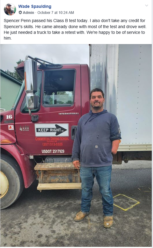 Spencer Penn Gets CDL License