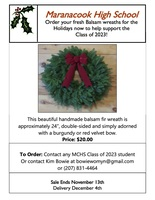 Balsam Wreath Fundraiser for the Class of 2023