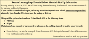 Remote Learning Prep: Essential School Materials Pick Up Information