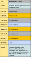 Wednesday Remote Learning Schedule