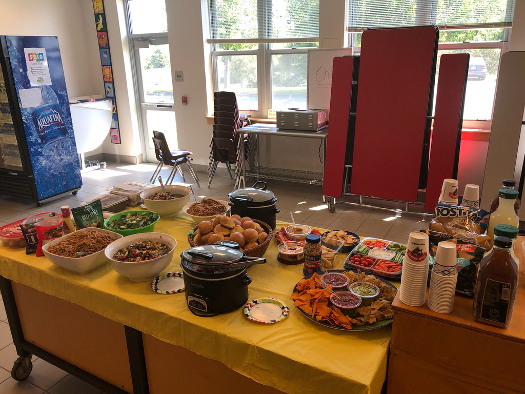 PTO sponsored luncheon for staff. Food from the Apple Shed!