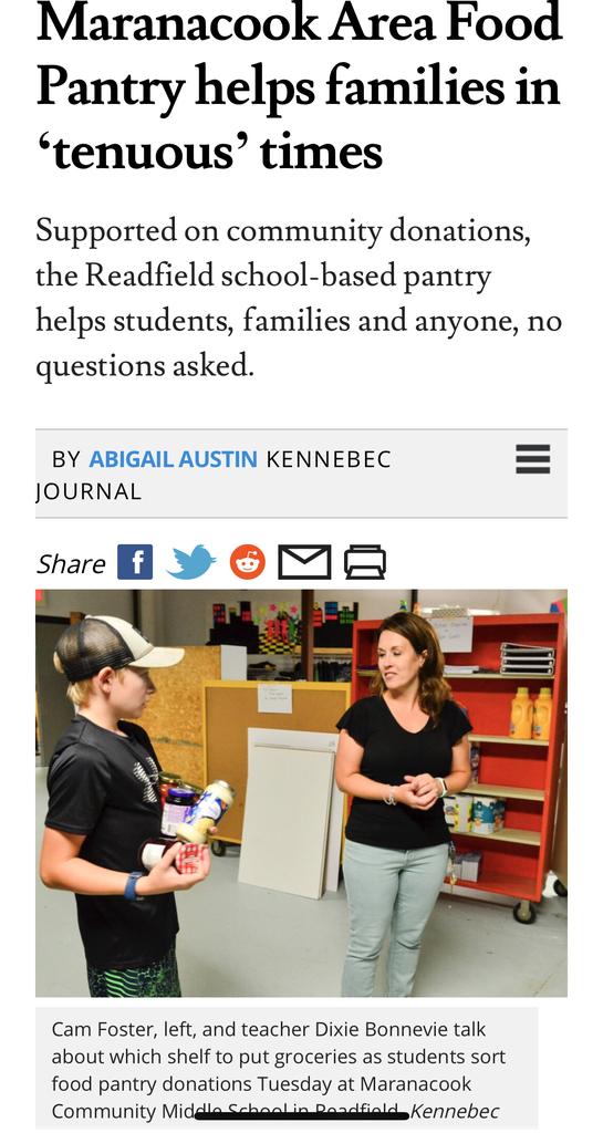 Food Kitchen highlighted! Above: Cam Foster and Mrs. Bonnevie