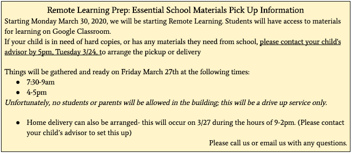 MCMS Essential Materials Pick Up Information