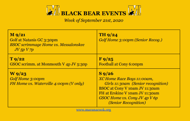 Weekly Events 9/21